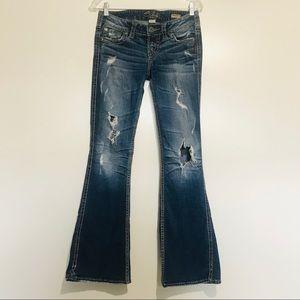 "Silver Jeans Co Jeans Frances 22"" Flare Destroyed"